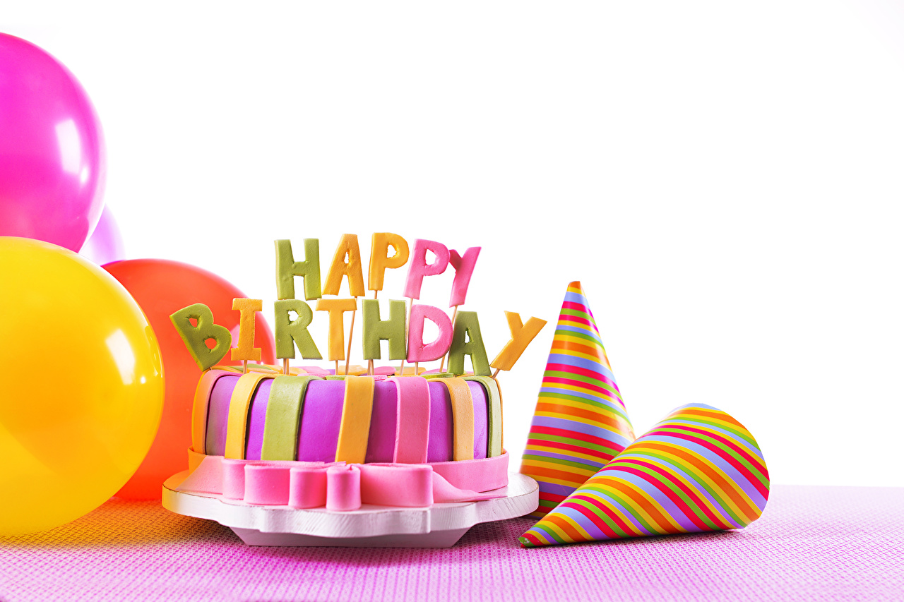 Picture Birthday Cakes Food Holidays White background Torte