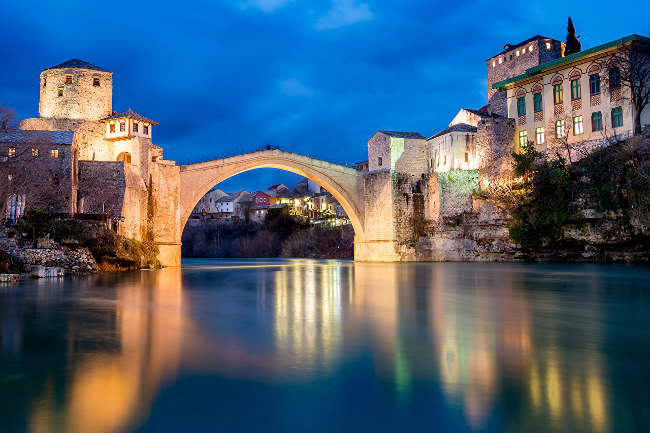 Images Bosnia and Herzegovina Mostar bridge Rivers Evening Houses Cities Bridges river Building