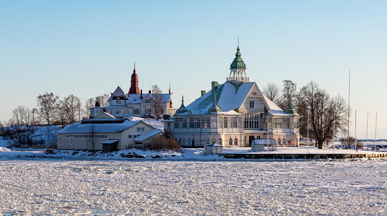 、フィンランド、ヘルシンキ、住宅、冬、邸宅、雪、建物、都市、