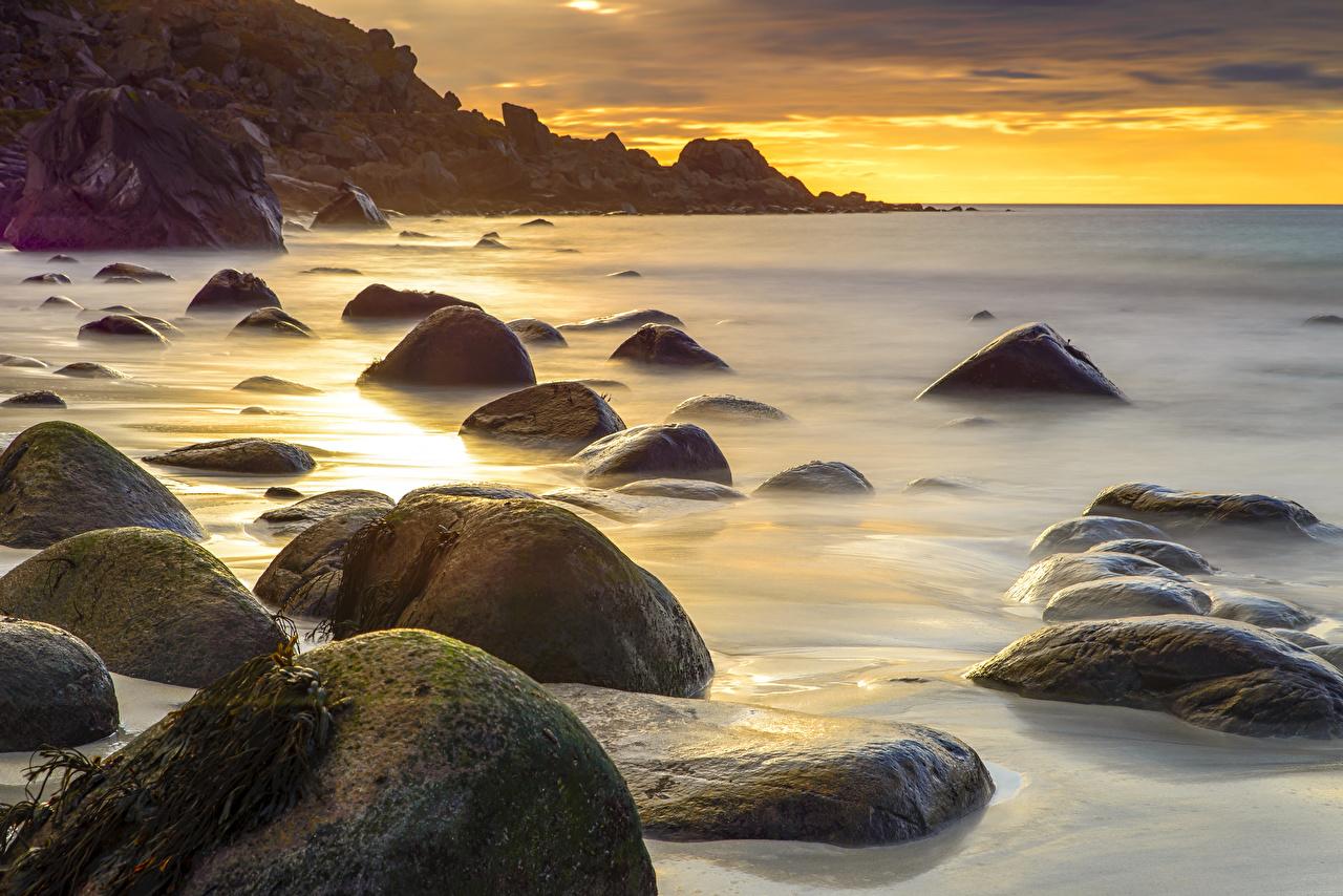 Bilder von Norwegen Natur Sonnenaufgänge und Sonnenuntergänge Küste Steine Morgendämmerung und Sonnenuntergang Stein