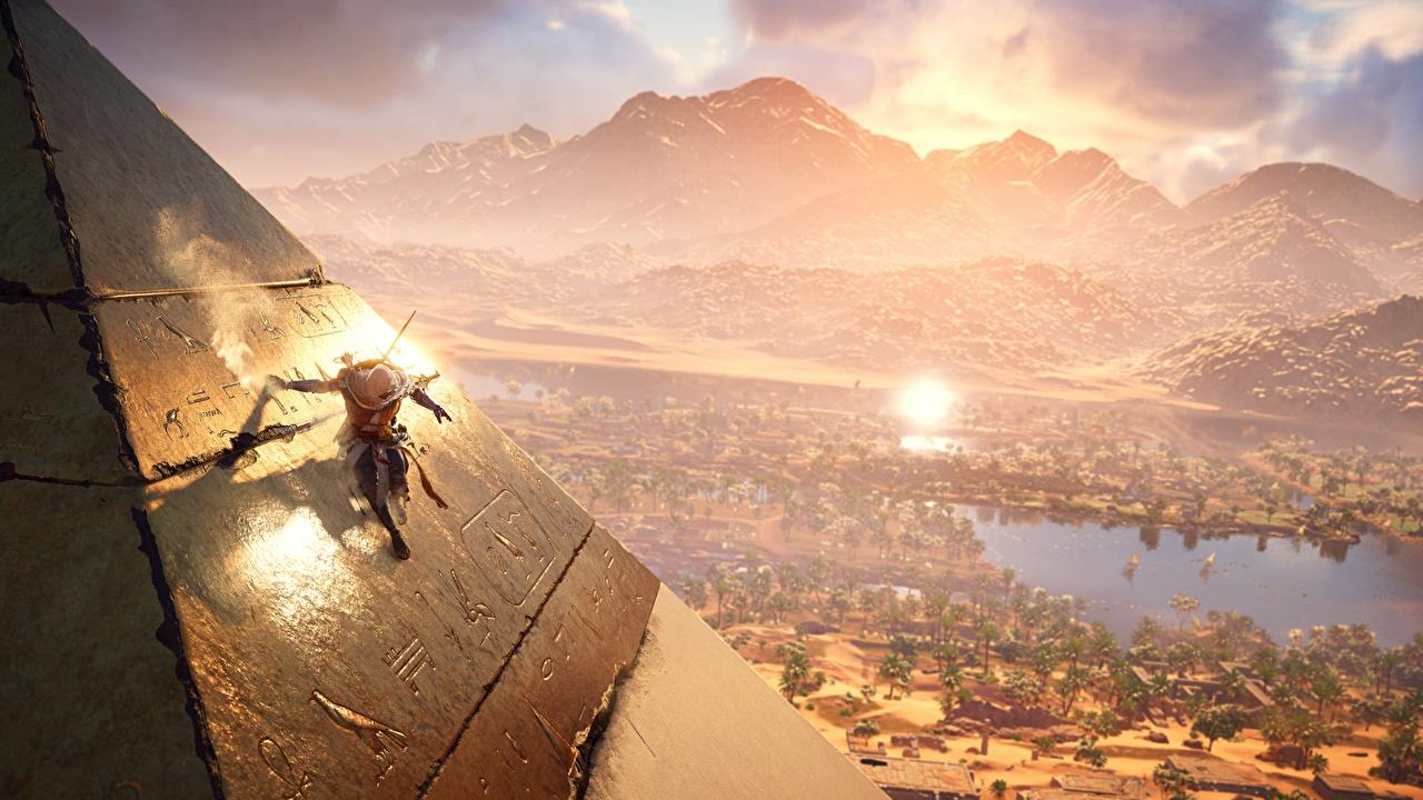 Desktop Wallpapers Assassin's Creed Origins Egypt warrior Games Pyramid Warriors vdeo game