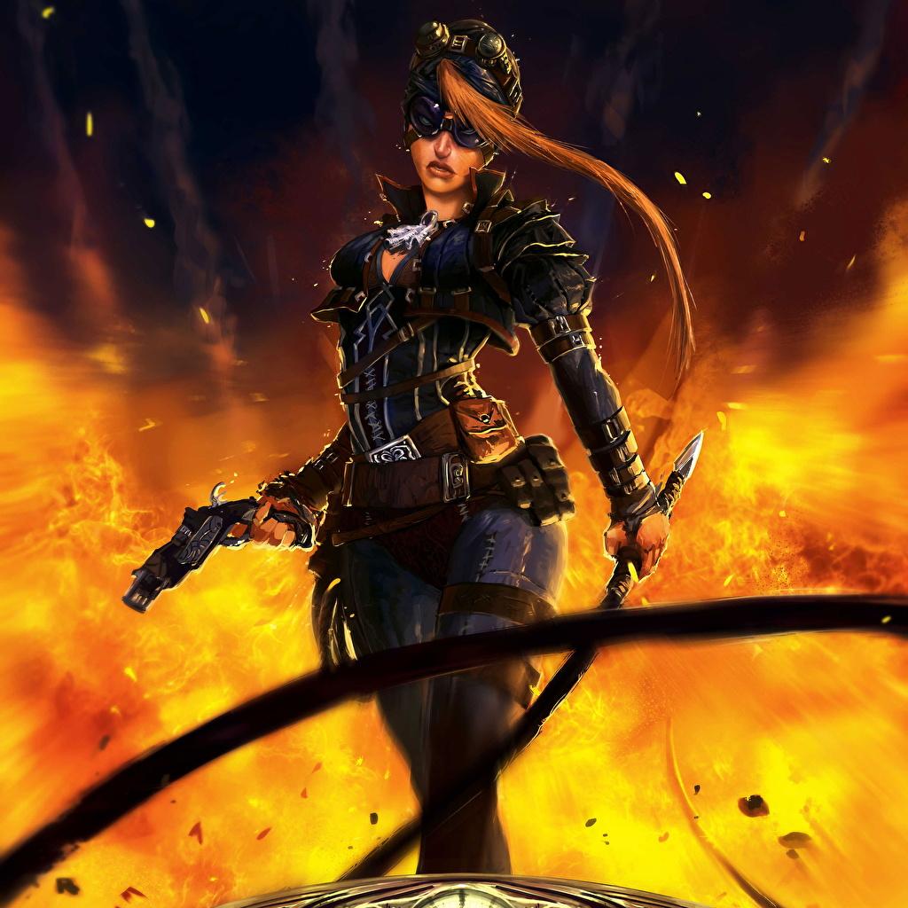 Image Sabre Pistols Redhead girl warrior Geraud Soulie Girls Fantasy flame Glasses pistol Warriors female young woman Fire eyeglasses