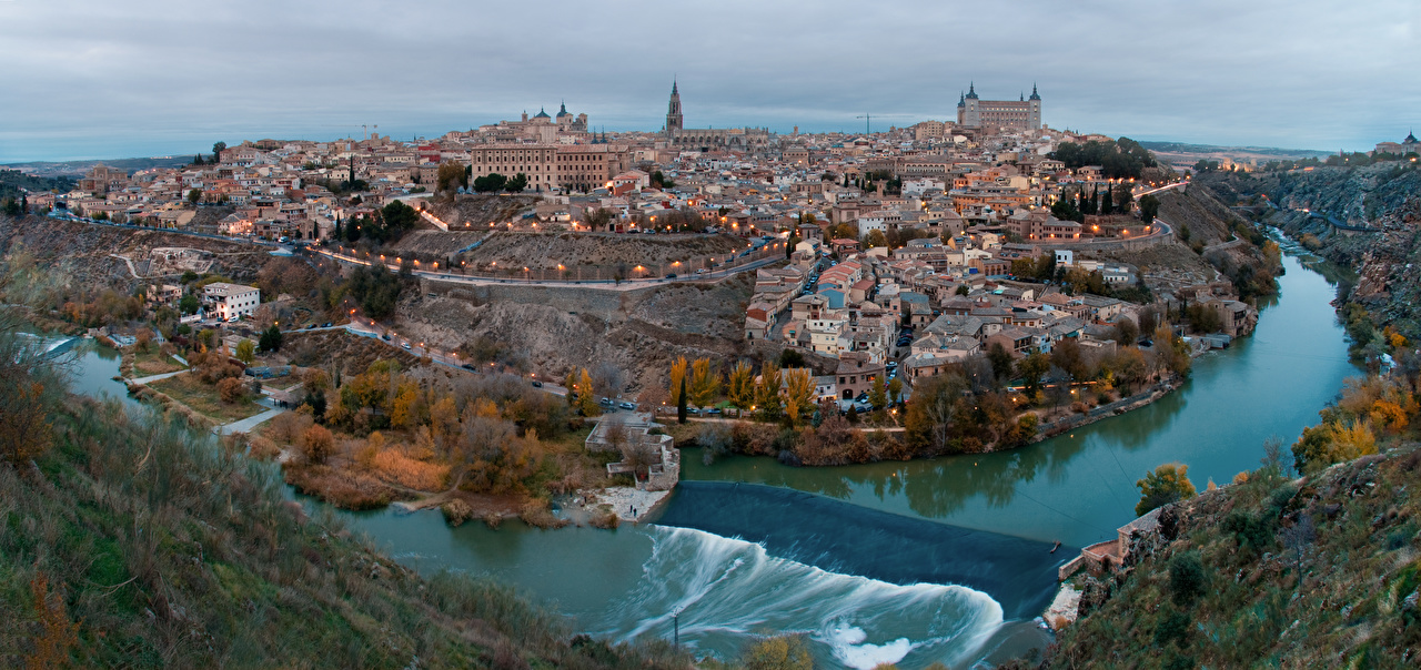 Photo Toledo Spain Castile-La Mancha, Tagus river Rivers From above Cities