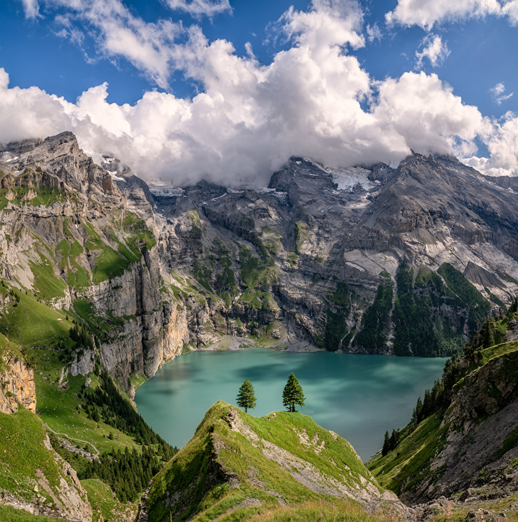 Pictures Alps Switzerland Berner Oberland Cliff Nature Mountains Lake Clouds Rock Crag mountain