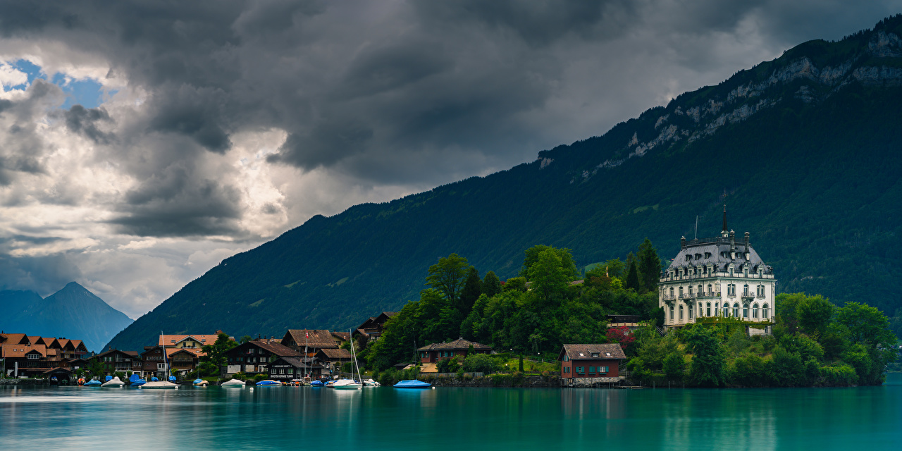 Photo Alps Switzerland Lake Brienz Nature Mountains Boats Houses Clouds mountain Building