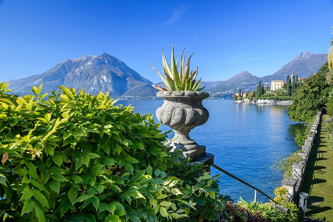 Photo Alps Italy Lago di Como, Varenna Nature mountain plant pot Lake Mountains Flowerpot flower pot