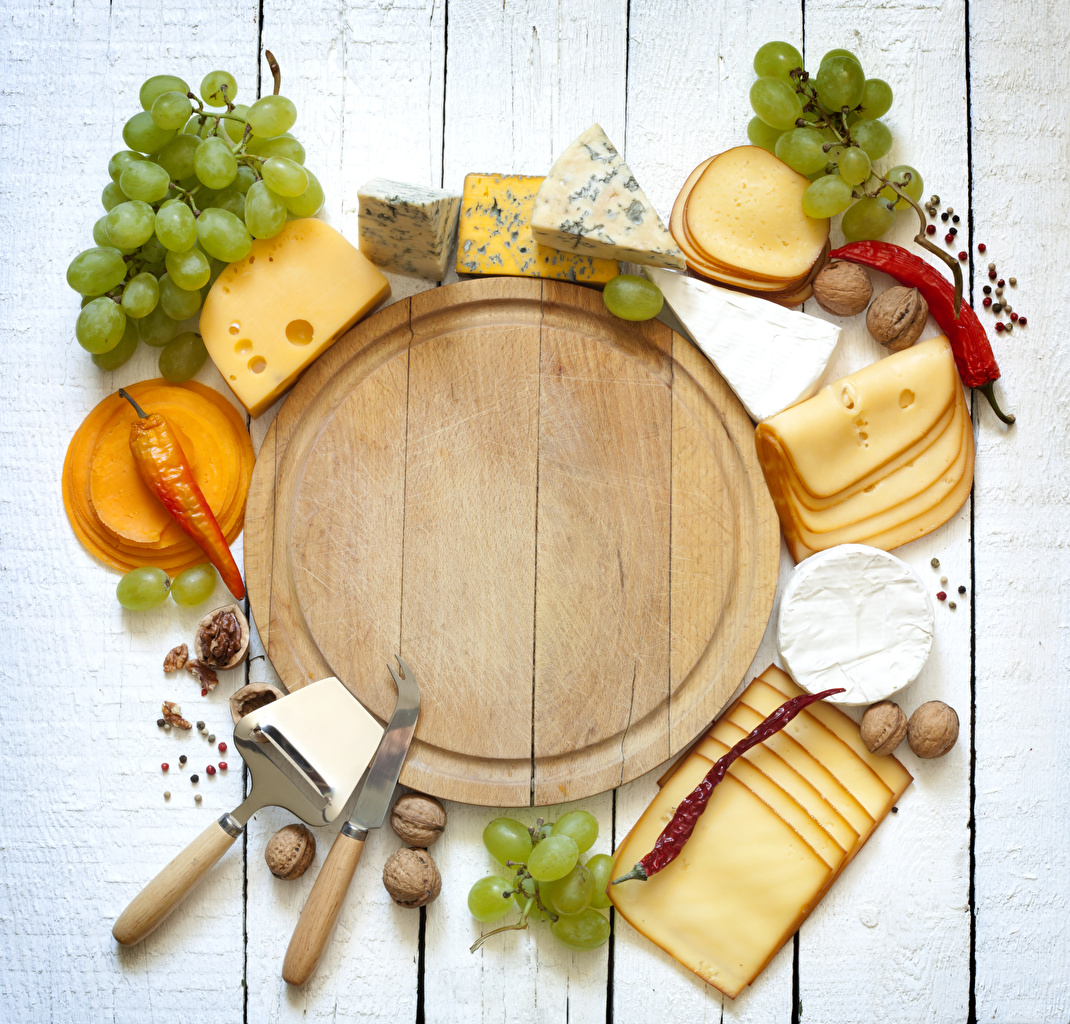 Photos Knife Chili pepper Cheese Grapes Food Sliced food Cutting board Nuts boards Wood planks