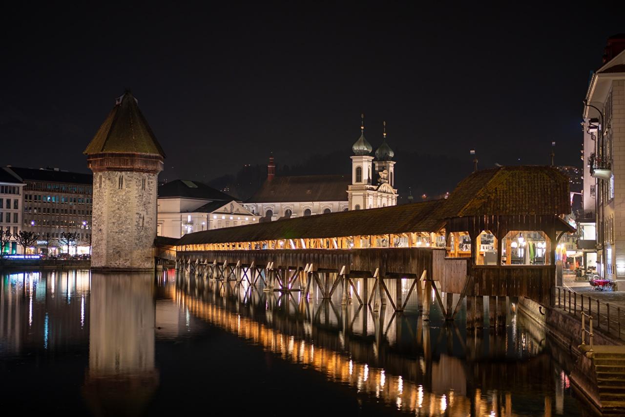 Immagini Svizzera torri ponte Di notte Città Torre Ponti Notte notturna