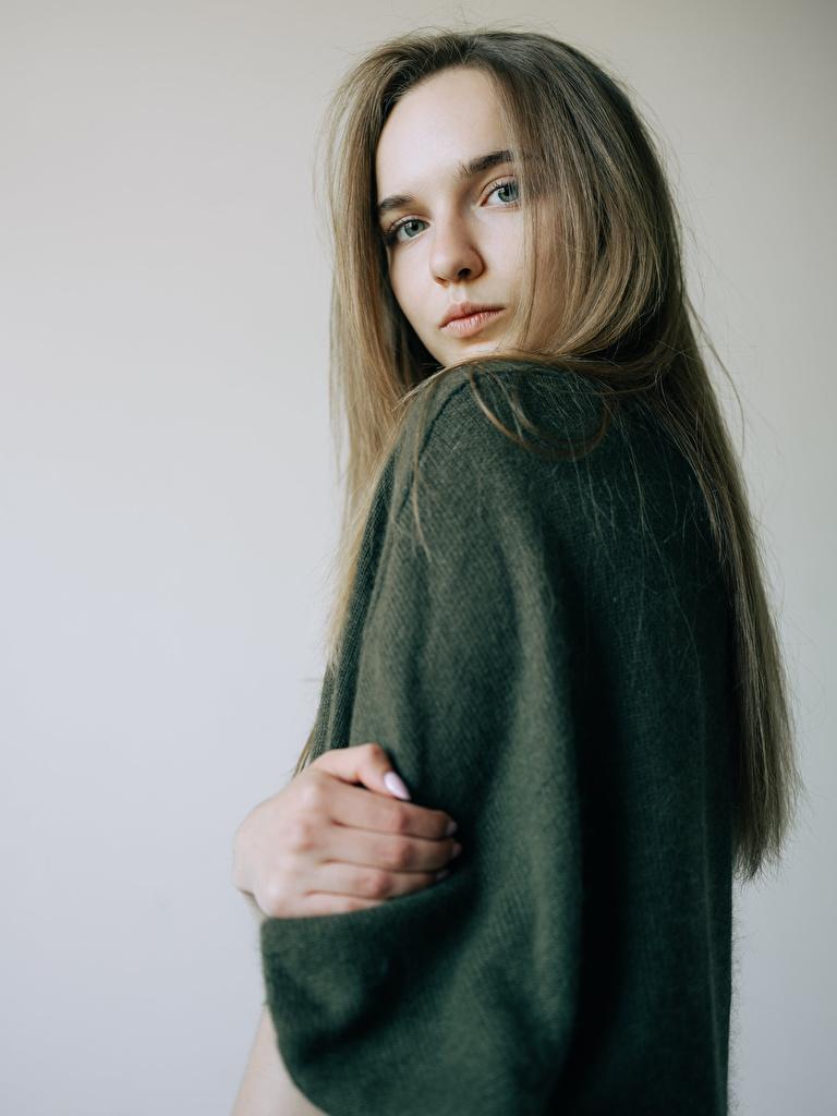 Desktop Wallpapers Yana, Kirill Sokolov young woman Sweater Staring  for Mobile phone Girls female Glance