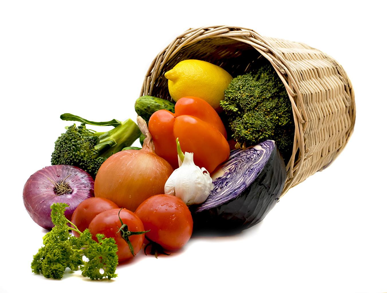 Fotos Tomate Zwiebel Weidenkorb Gemüse Paprika Lebensmittel Tomaten das Essen