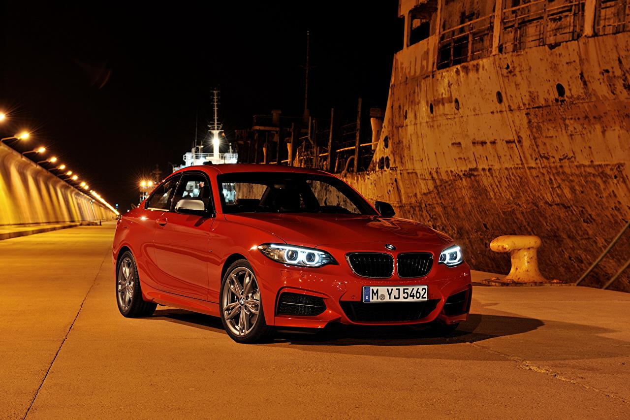 Photo BMW 2013 M235i F22 Red Cars Night auto night time automobile