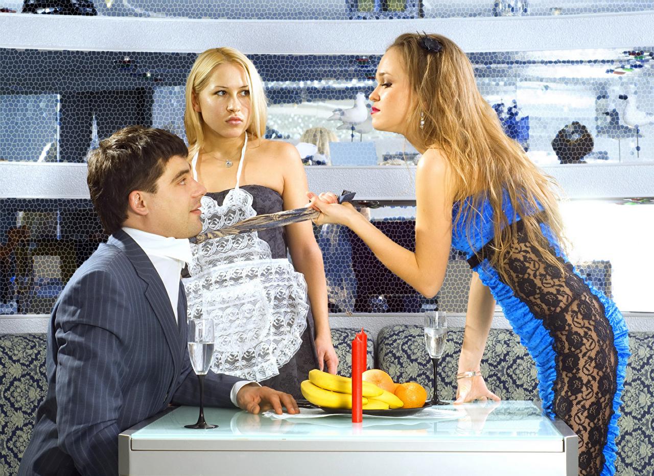 Desktop Wallpapers funny Men Cafe female Necktie Humor Man Girls young woman