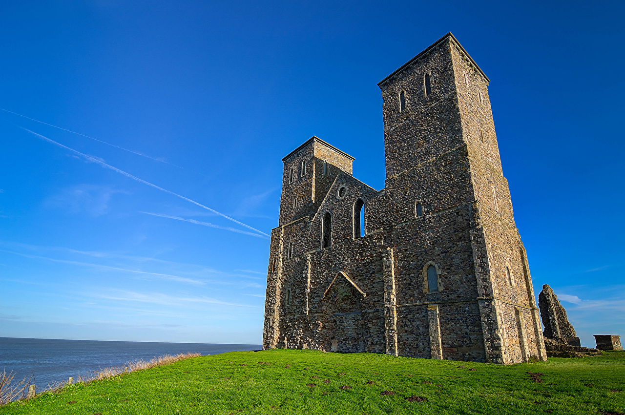 Photo Church England Tower Kent, Reculver Towers HDRI Nature Sky Ruins towers HDR