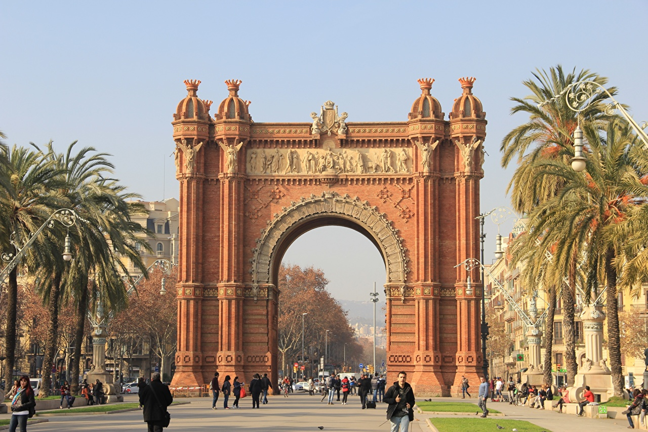 Wallpaper Barcelona Spain Monuments Arch Triomphe Palms Street Cities palm trees