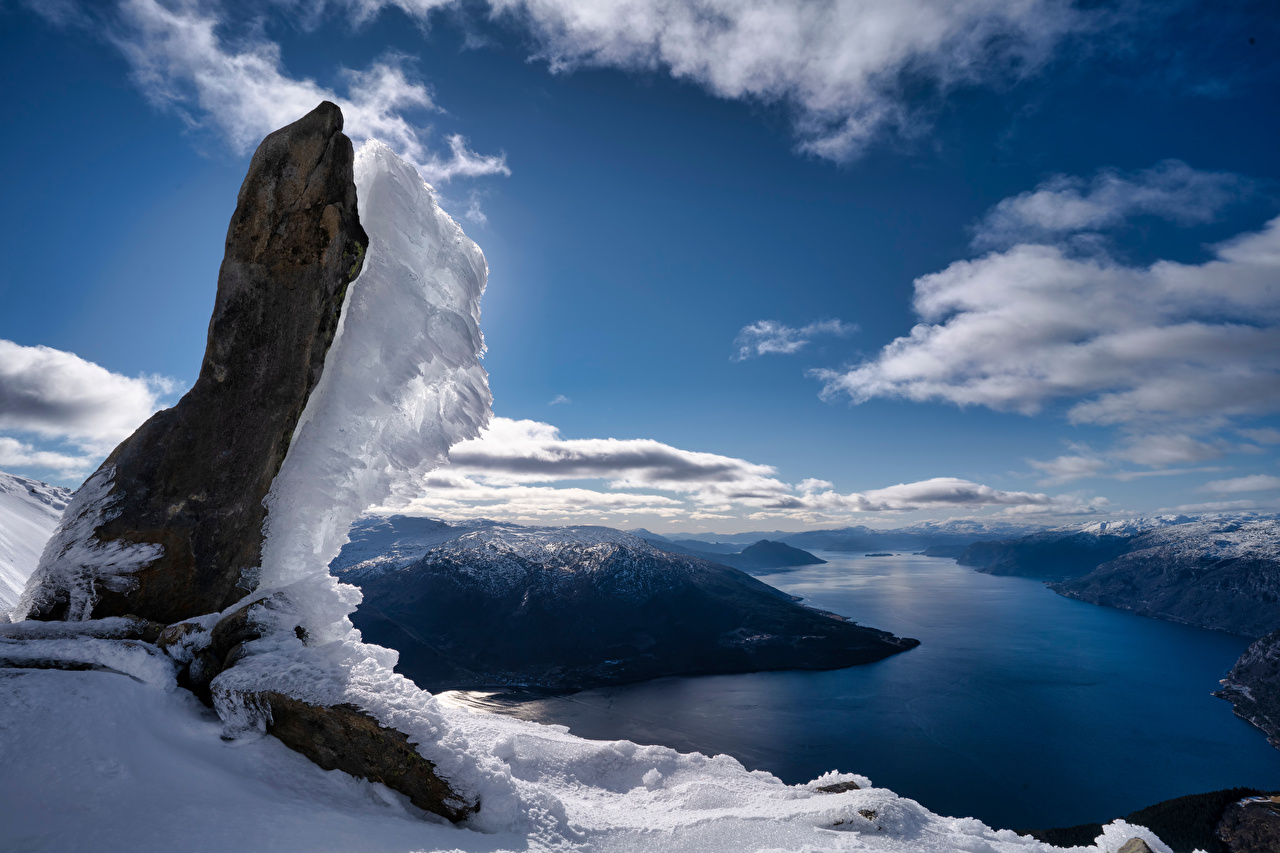 Fotos Norwegen Naustflot Fjord Natur Felsen Gebirge Schnee Wolke Berg