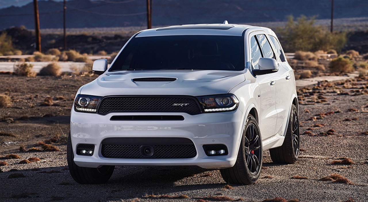 Photos Dodge SUV Durango, SRT, 2017 White Front automobile Sport utility vehicle Cars auto