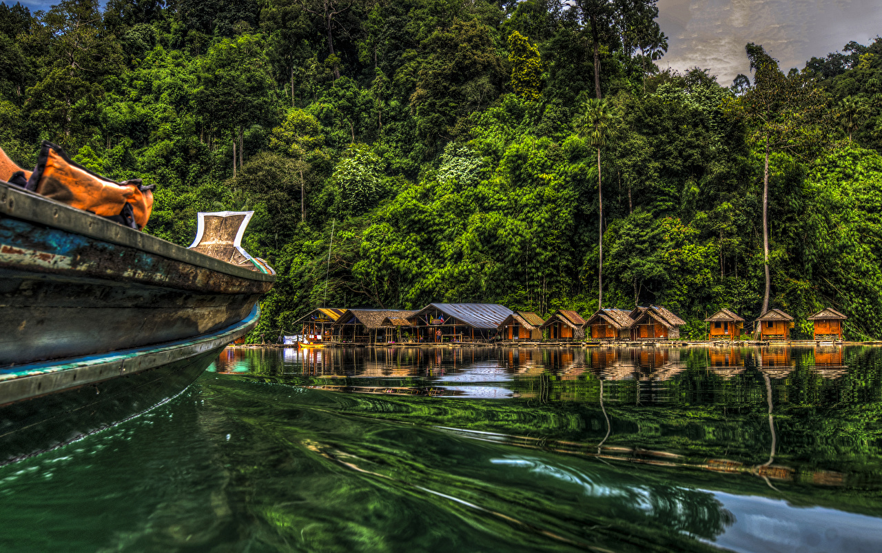 Images Thailand Cheow Lan Lake Khao Sok National Park HDR Nature park Forests HDRI Parks forest