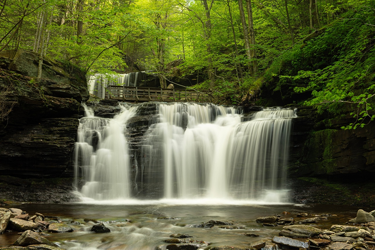 Desktop Wallpapers USA Mohawk Falls, Colebrook, New Hampshire Nature Waterfalls Forests river Stones Trees forest stone Rivers
