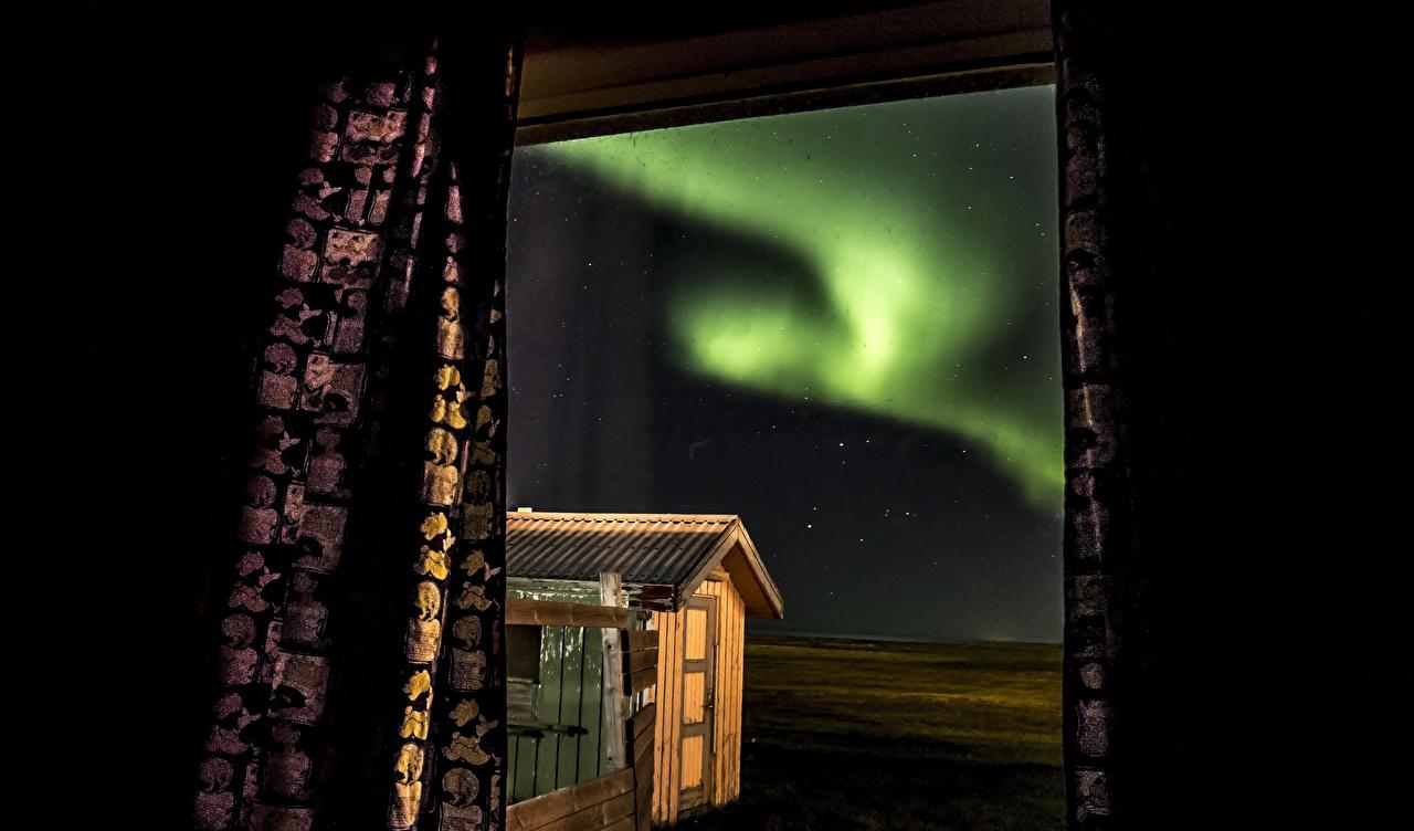 、、オーロラ、窓、自然、