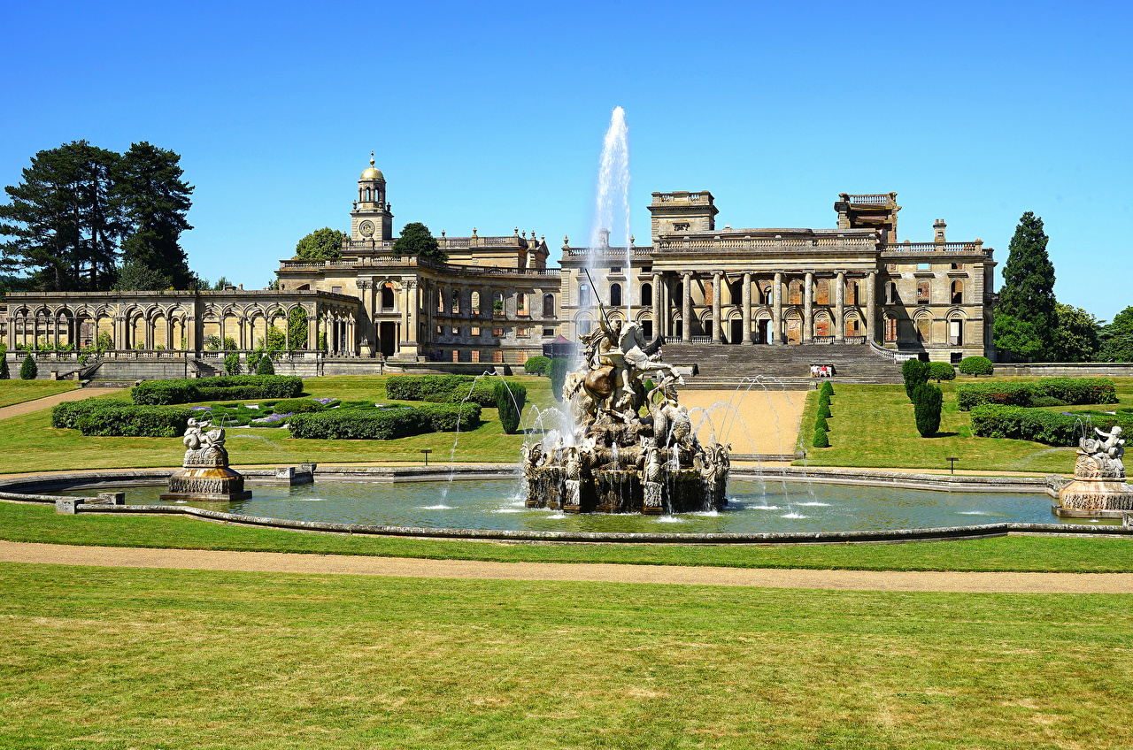 Wallpapers England Fountains Witley Court Mansion Lawn Houses Cities Sculptures Building