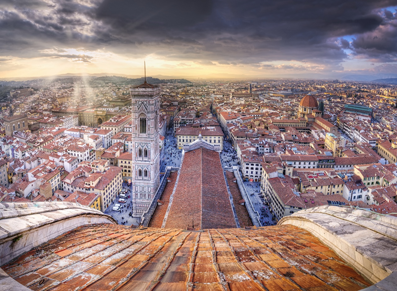 Photo Florence Italy Tower Cupola di Santa Maria del Fiore, Firenze e Campanile di Giotto HDR Roof From above Cities Building towers HDRI Houses
