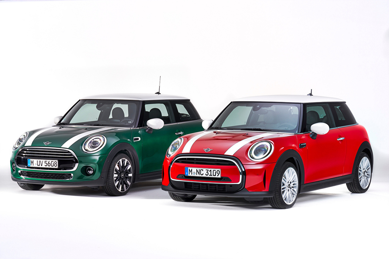 Desktop Wallpapers Mini Hatch (F56), 2014 2 Red Green auto White background Two Cars automobile