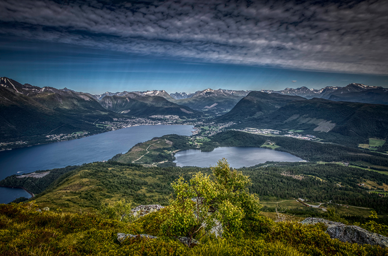 Picture Norway Helgehornet Nature mountain landscape photography Clouds Mountains Scenery