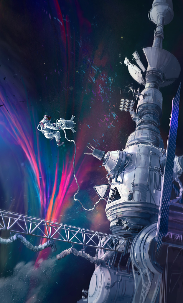 Foto Ruimtestation Ruimtevaarder Ruimte Geschilderde  voor Mobiele telefoon astronaut getekende