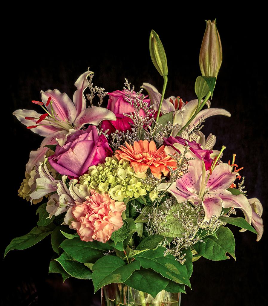 Fotos Sträuße Rosen Lilien Blumen Hortensien Alstroemeria Schwarzer Hintergrund Blumensträuße Rose Blüte Hortensie Inkalilien