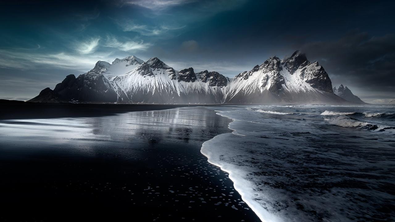 Foto Island Hofn, Austurland Strand Natur Gebirge Schnee Strände Berg