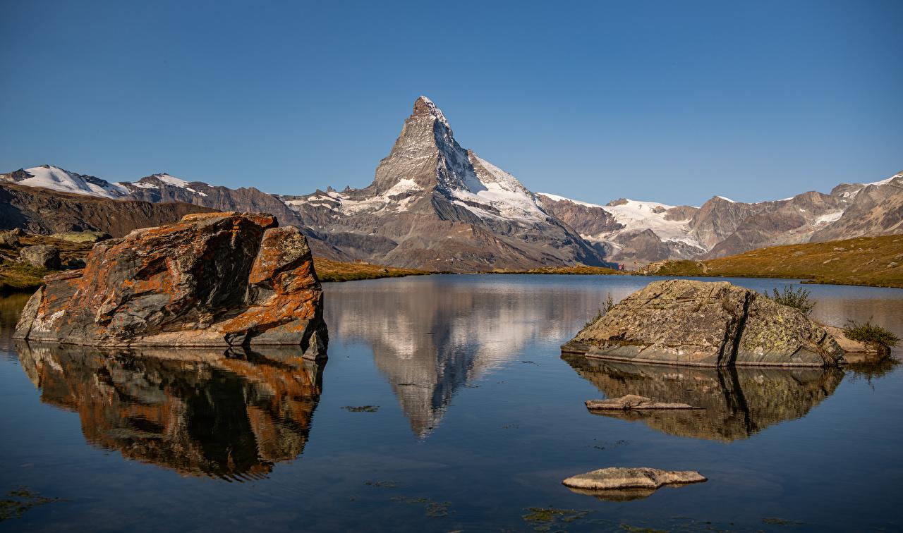 Image Alps Switzerland Stellisee, Zermatt Nature Mountains Lake stone mountain Stones