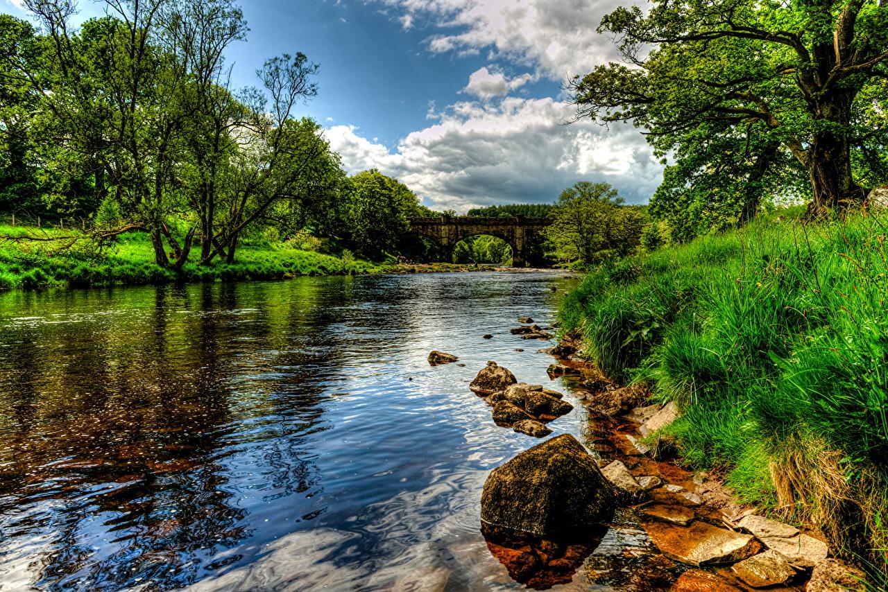Tapeta na pulpit Anglia Bolton Wharfe HDR Natura pejzaż Rzeki Trawa przyroda Krajobraz rzeka