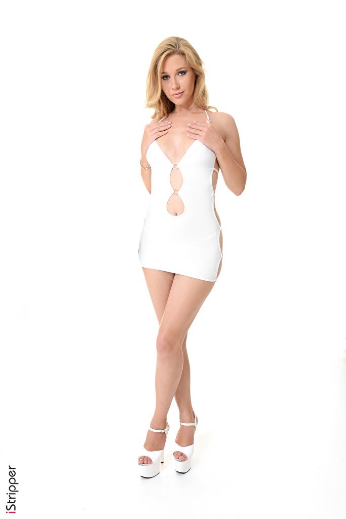 Foto Genevieve Gandi Blondine iStripper Weiß Mädchens Bein Hand Weißer hintergrund Kleid High Heels  für Handy Blond Mädchen junge frau junge Frauen Stöckelschuh