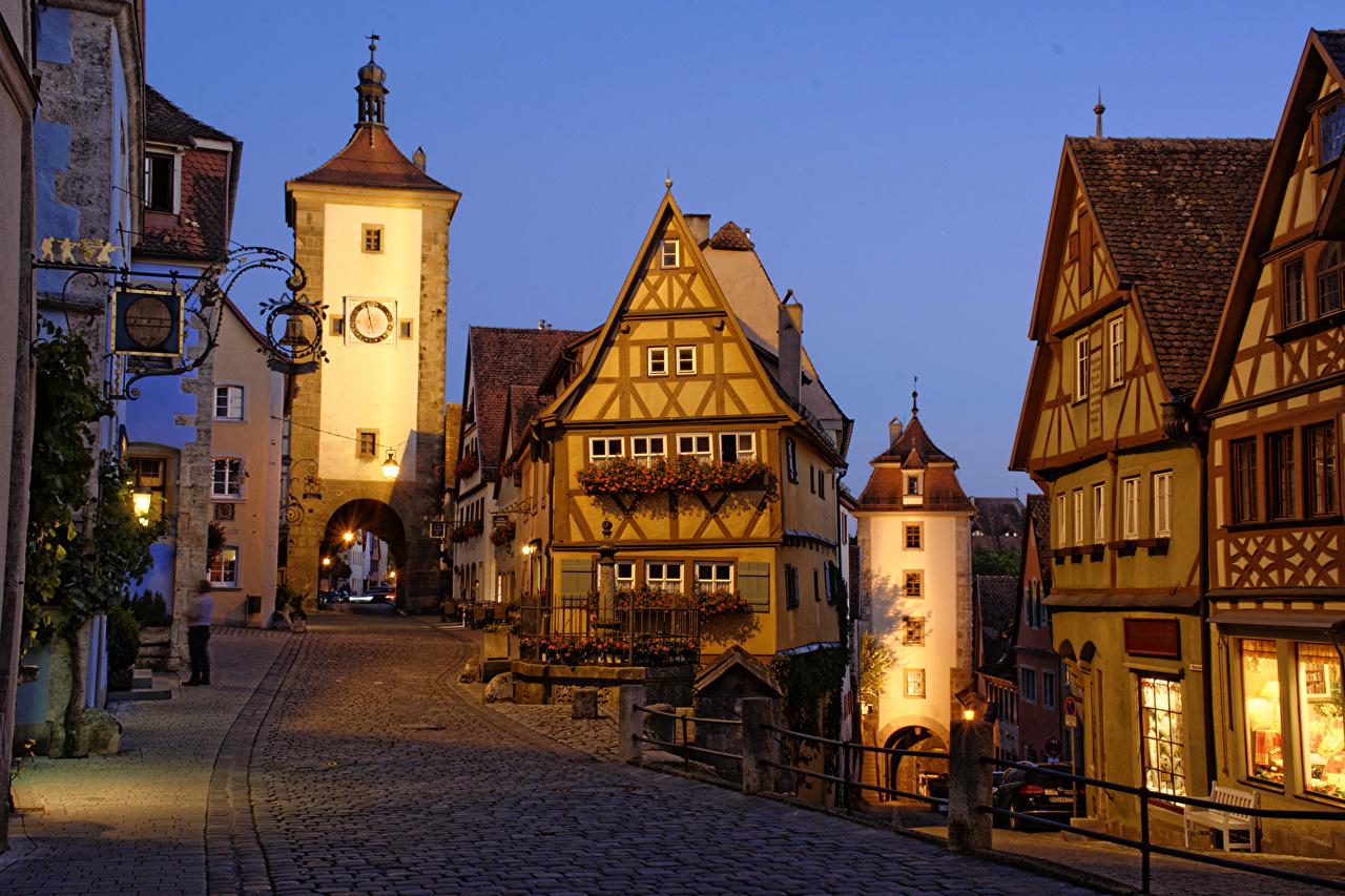 壁紙 ドイツ 住宅 Rothenburg ストリート 夜 都市 ダウンロード