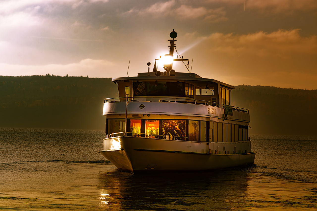 Photos Germany Lake Constance Nature Riverboat Evening