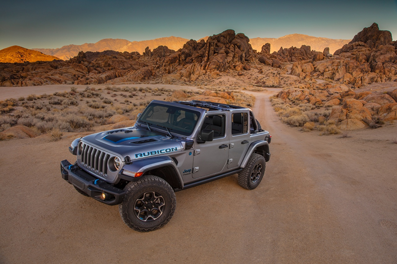 Images Jeep Sport utility vehicle 2021 Wrangler Unlimited Rubicon 4xe Pickup Grey Cars SUV gray auto automobile