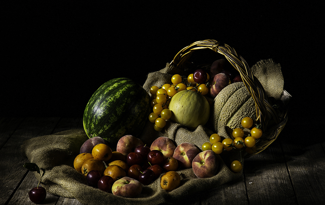Photo Tomatoes Melons Cherry Peaches Watermelons Wicker basket Food Fruit Still-life Wood planks boards