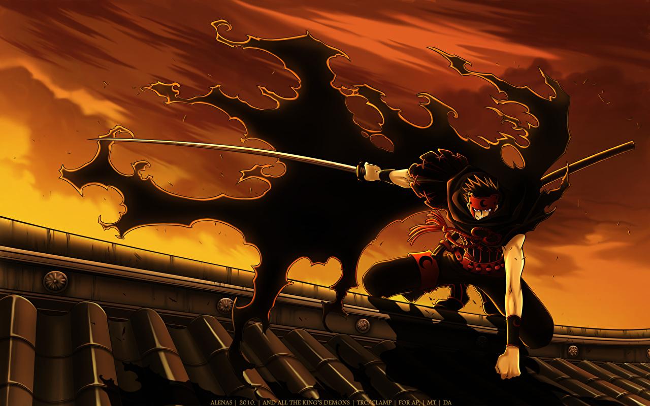 壁紙 Clamp Tsubasa Reservoir Chronicle Kurogane 若者 マント 侍 サーベル アニメ ダウンロード 写真