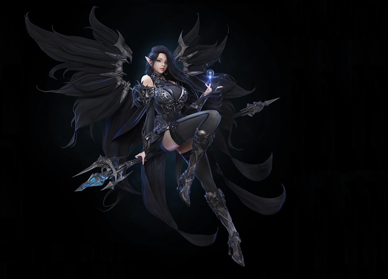 Anjo Fundo preto Meias altas Pernas Bonito Cajado de mago jovem mulher, mulheres jovens, moça, os anjos, lindo, lindos, bonita Fantasia Meninas
