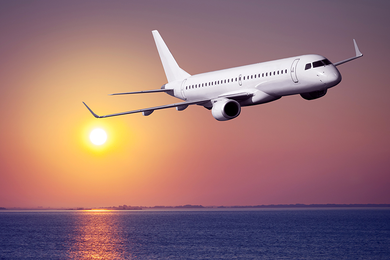 Immagini Aerei Aereo di linea Cielo Albe e tramonti Aviazione aereo alba e tramonto