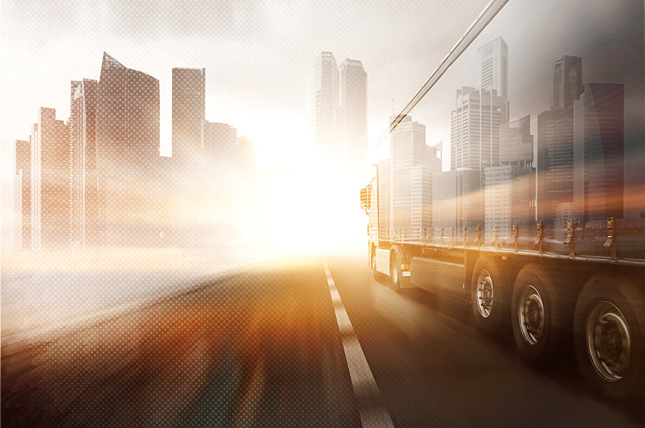 Photos Trucks Roads driving auto Houses lorry moving riding Motion at speed Cars automobile Building