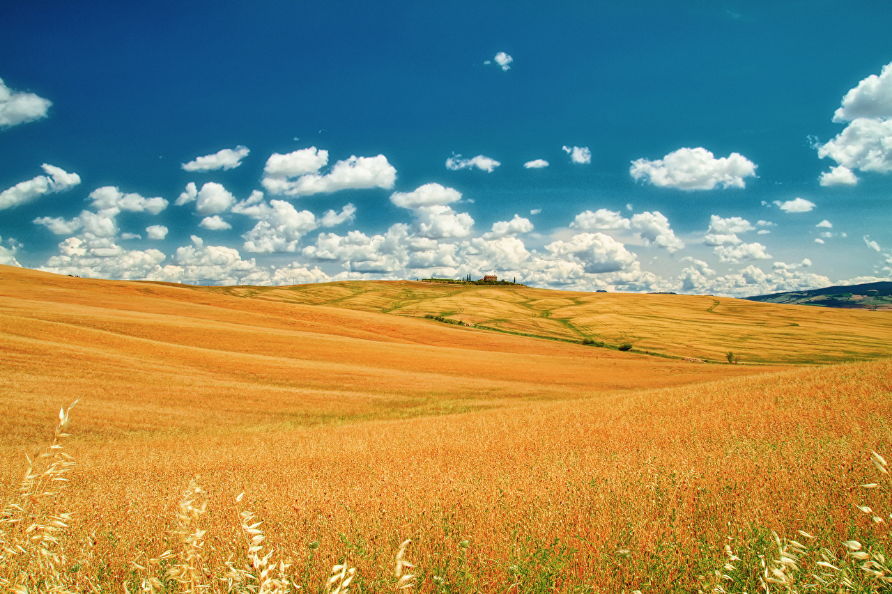 Desktop Wallpapers Tuscany Italy Nature Sky Fields Clouds