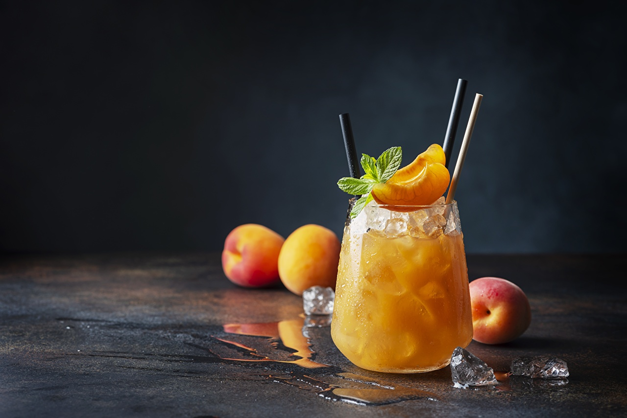 Picture Ice Juice Apricot mint Highball glass Food Mentha