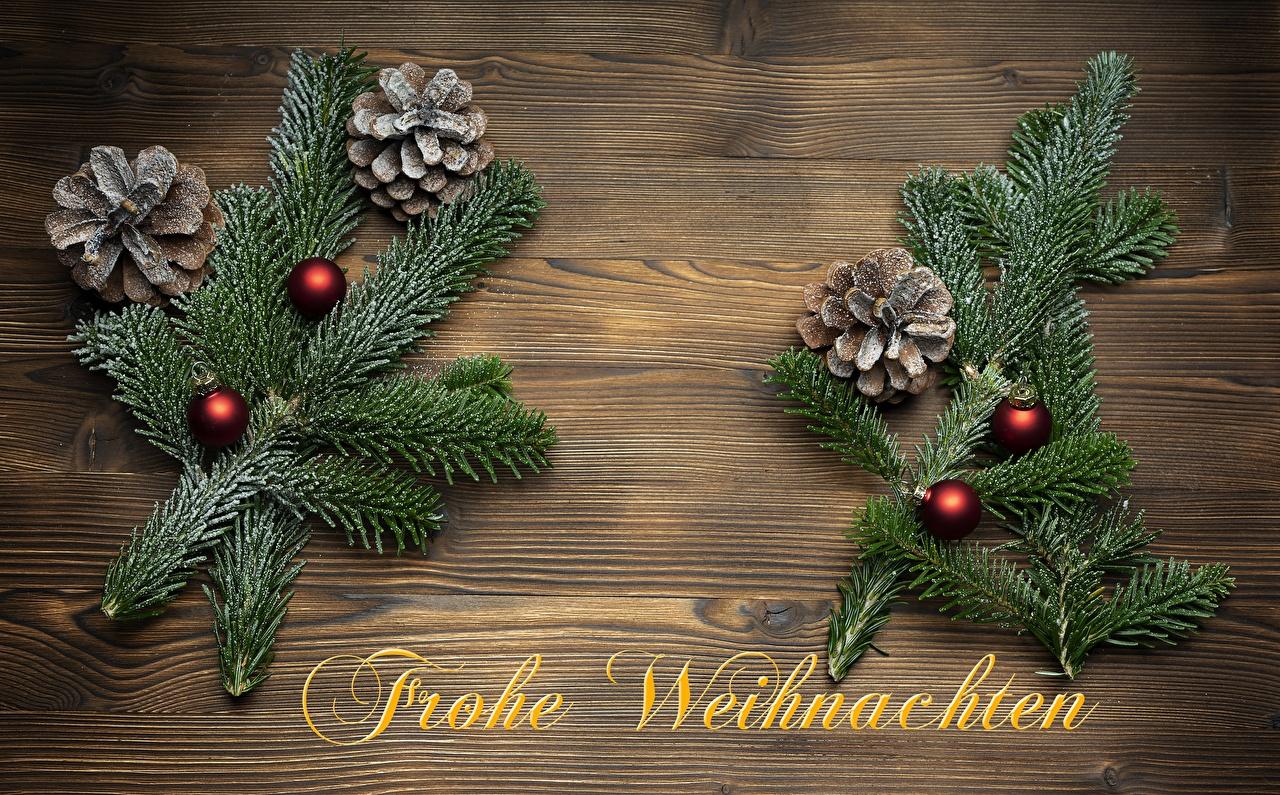 Desktop Hintergrundbilder Neujahr Deutsch Wort Ast Zapfen Kugeln deutsche deutscher text