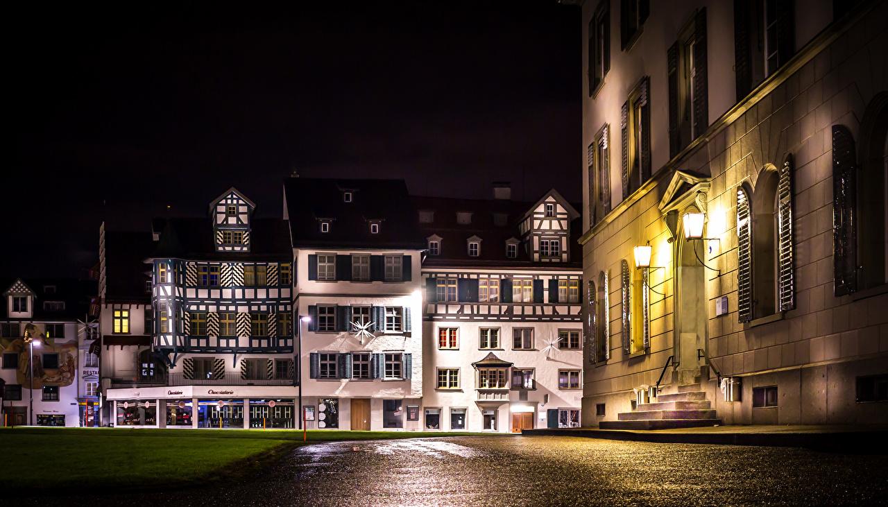 Sfondi del desktop Svizzera St.Gallen Via della città Di notte Lampioni Città edificio Notte notturna La casa