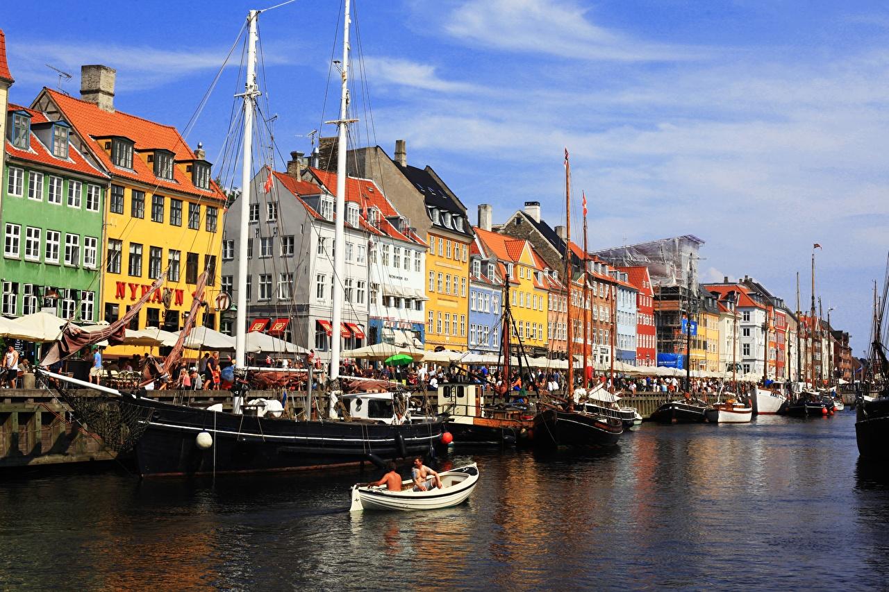 Desktop Wallpapers Copenhagen Denmark Canal Ships Boats Cities Building ship Houses