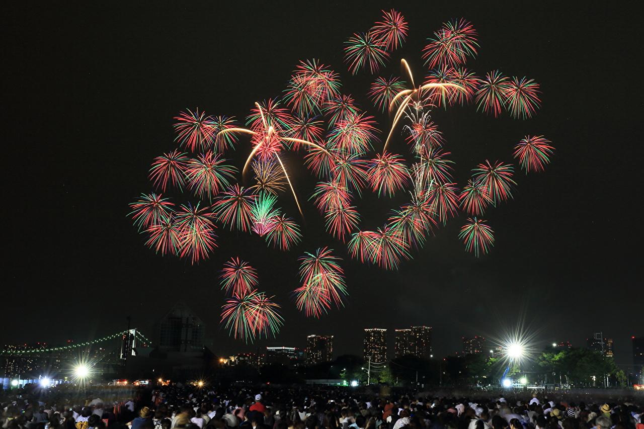 、花火、東京都、日本、夜、都市