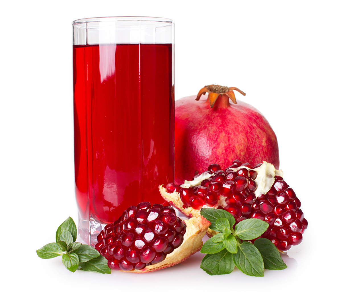 Pictures Juice Grain Pomegranate Highball glass Food White background