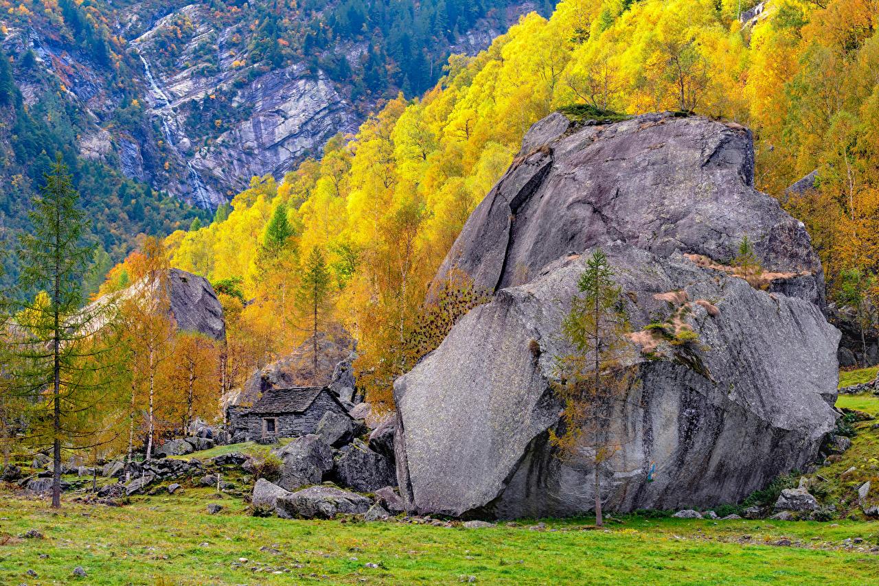 Bilder Alpen Schweiz Ticino Berg Natur Herbst Steine Bäume Gebirge Stein