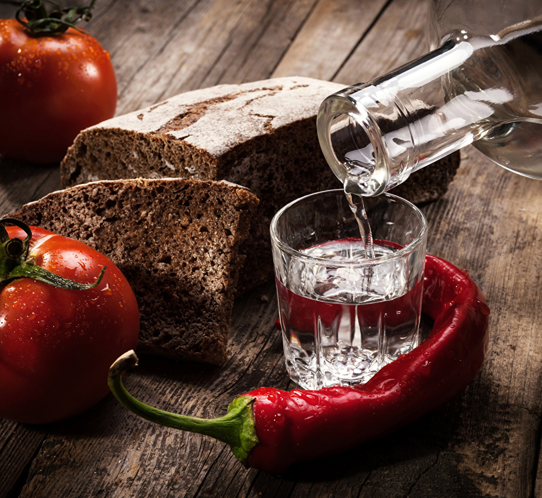 Photos Vodka Tomatoes Chili pepper Bread Food Shot glass
